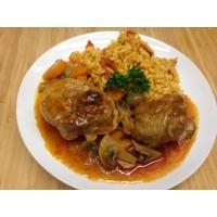 Osso buco de dinde, carottes, champignons et riz safrané