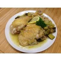 Sauté de veau aux olives, champignons, riz sauvage et haricots beurre