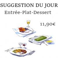 Fraîcheur de concombres-Moussaka d'aubergines-Clafoutis aux abricots