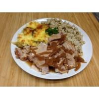 Émincé de porc au cidre, crozets au sarrazin et gratin de courgettes