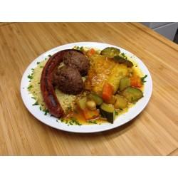 Couscous merguez-poulet-boulette de boeuf