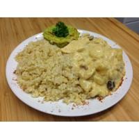 Fricassée de volaille créole, boulgour et quinoa