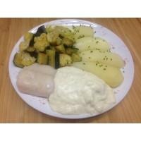 Dos de colin sauce citron, légumes poêlés et pommes vapeur