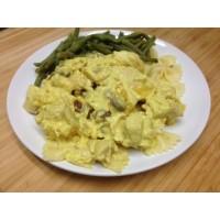 Fricassée de volaille créole, riz sauvage et flan de légumes