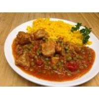 Sauté de porc au chorizo et olives, petits pois et riz safrané