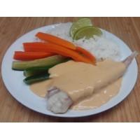 Queue de lotte sauce Nantua riz thai et légumes vapeur