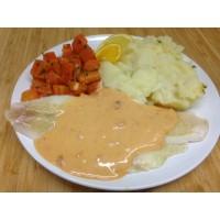 Filet de limande à l'armoricaine écrasé de p.d.terre et carottes vapeur