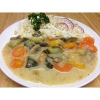 Blanquette de légumes véggie (champignons carottes poireaux courgettes), riz et blé tendre