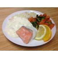 Duo de colin et saumon sauce aux agrumes, riz thaï et gratin de courgettes