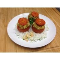 Tomate farcie végétarienne et riz basmati