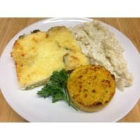 Clafoutis de petits légumes au fromage et paillasson de légumes*