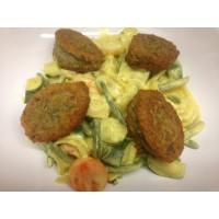 Boulettes végétarienne lentilles ricotta et curry de légumes au lait de coco