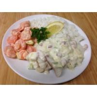 Queue de lotte sauce aux agrumes, flan de légumes et riz thaï