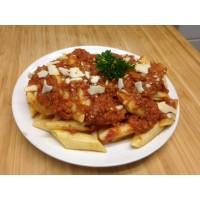 Boulettes de bœuf façon bolognaise, spaghettis à la tomate et emmental râpé