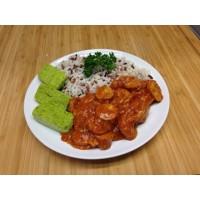 Rougail'saucisses, riz aux lentilles et courgettes persillades