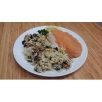 Dos de colin au curry de fruits de mer, riz sauvage et gratin de choux fleur