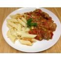 Mijoté de porc aux légumes et graines de moutarde et tortis