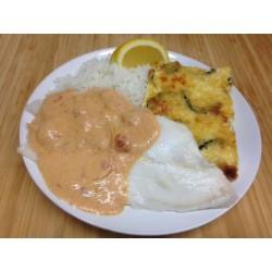 Filet de limande sauce crustacés, riz sauvage et gratin de courgettes