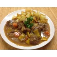 Joue de porc au cidre, riz sauvage et légumes  mijotés