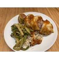 Calamar farcis sauce curstacés, riz sauvage et gateau  de légumes
